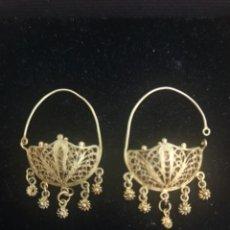 Joyeria - Pendientes antiguos isabelinos de oro con filigrana - 166958092