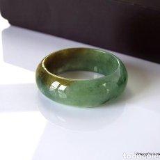 Jewelry - Anillo Jade Natural, anillo Jade jadeíta Verde y marrón traslúcido (Grade A) Certificado, anillo jad - 167833628