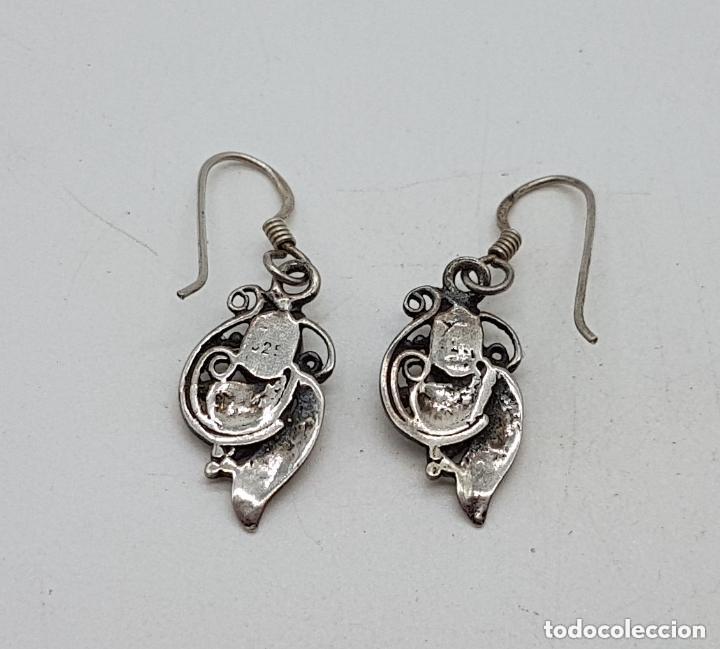 Joyeria: Preciosos pendientes de plata de ley modernistas de diseño floral con granates incrustados. - Foto 6 - 167916420