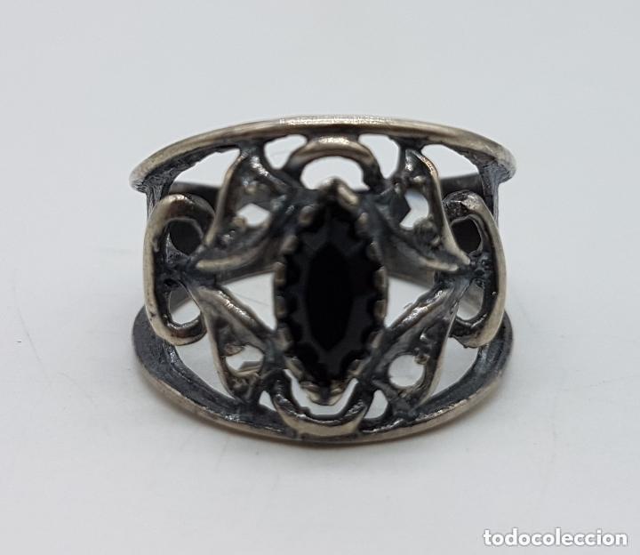 Joyeria: Precioso anillo antiguo isabelino en plata de ley contrastada de diseño calado con onix engarzado. - Foto 6 - 167924492