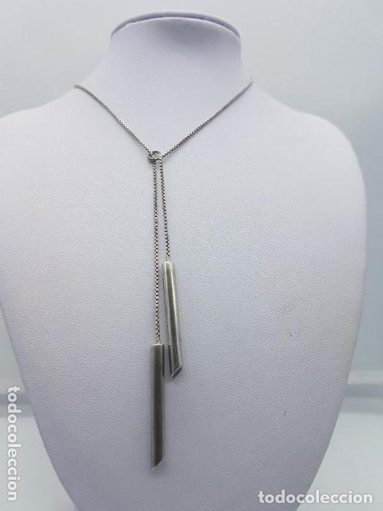 Joyeria: Elegante collar vintage en plata de ley contrastada muy original de diseño asimetrico . - Foto 4 - 167937056