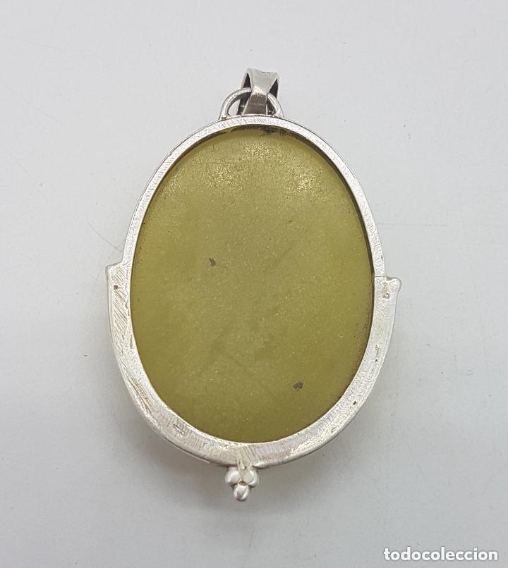 Joyeria: Antiguo gran colgante art deco de plata 925 con gran cabujón de jade amarillo. - Foto 5 - 168064336