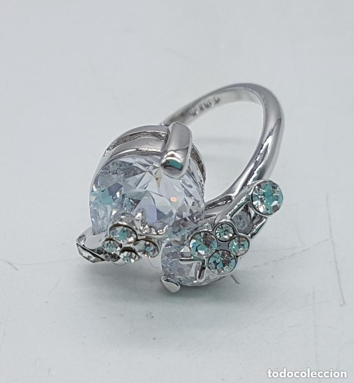 Joyeria: Precioso anillo con formas modernistas con baño de plata de ley y circonitas. - Foto 7 - 168151980
