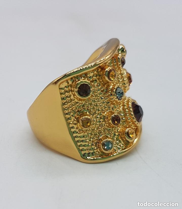 Joyeria: Precioso anillo chapado en oro de 18 quilates de pedrería incrustada - Foto 2 - 168152888