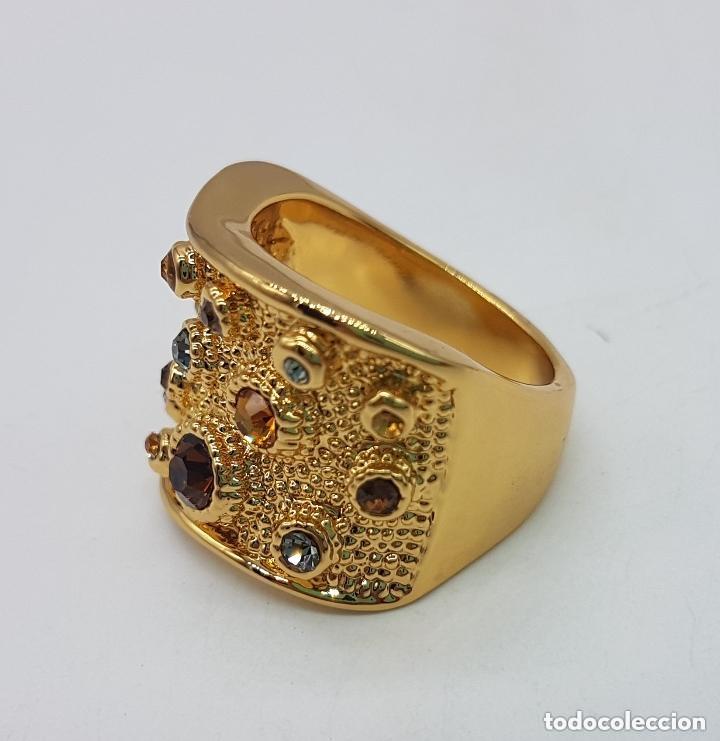 Joyeria: Precioso anillo chapado en oro de 18 quilates de pedrería incrustada - Foto 3 - 168152888