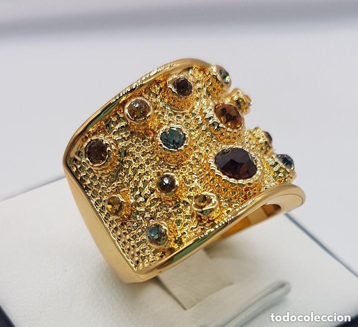 Joyeria: Precioso anillo chapado en oro de 18 quilates de pedrería incrustada - Foto 5 - 168152888