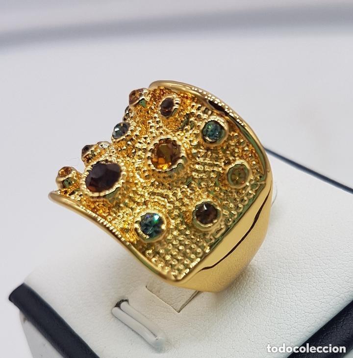 Joyeria: Precioso anillo chapado en oro de 18 quilates de pedrería incrustada - Foto 6 - 168152888