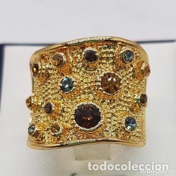 Joyeria: Precioso anillo chapado en oro de 18 quilates de pedrería incrustada - Foto 7 - 168152888