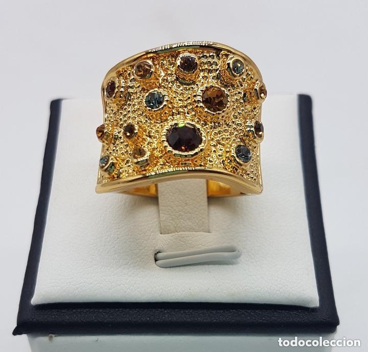 Joyeria: Precioso anillo chapado en oro de 18 quilates de pedrería incrustada - Foto 8 - 168152888
