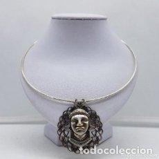 Joyeria: PRECIOSA GARGANTILLA ANTIGUO EN PLATA DE LEY CONTRASTADA Y MEDALLÓN CON BUSTO INDIO.. Lote 168164752
