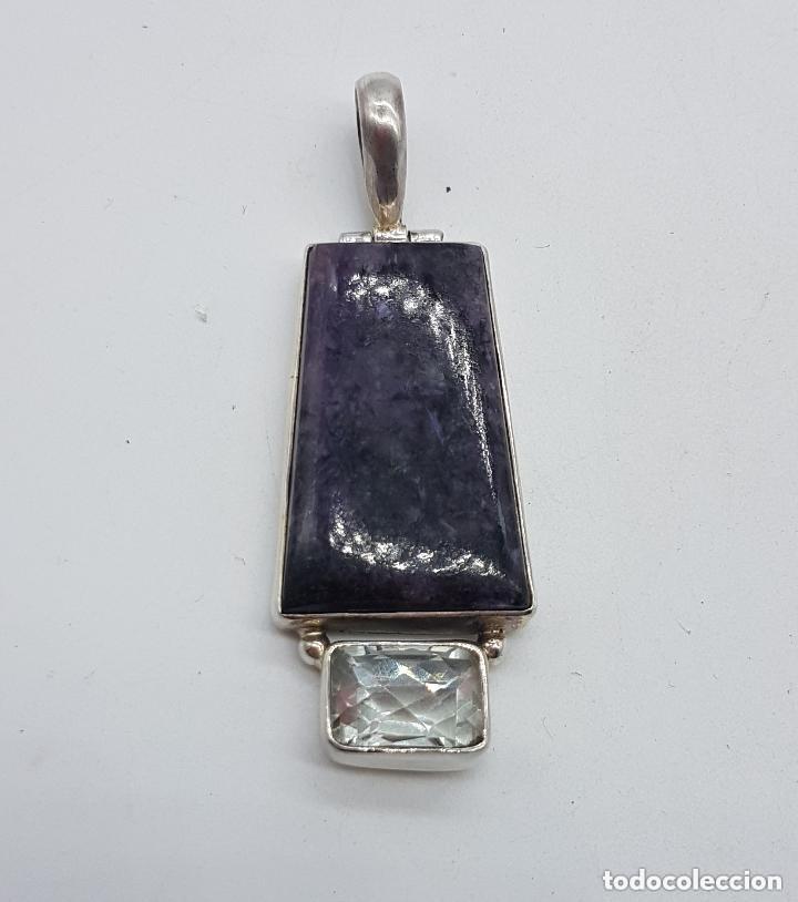 Joyeria: Impresionante gran colgante art deco en plata de ley 925 con gran ágata morada y cuarzo faceteado. - Foto 2 - 168170132