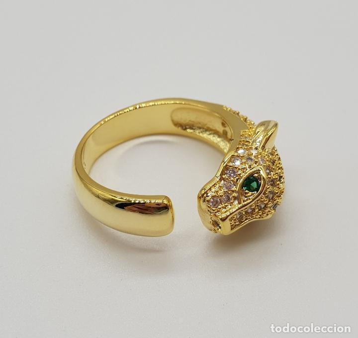 Joyeria: Sortija de lujo tipo Cartier, acabado en oro de 18k, esmeraldas y pave de circonitas talla brillante - Foto 5 - 184187595