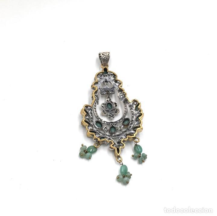 Joyeria: Colgante de plata y esmeraldas - Foto 2 - 168205116