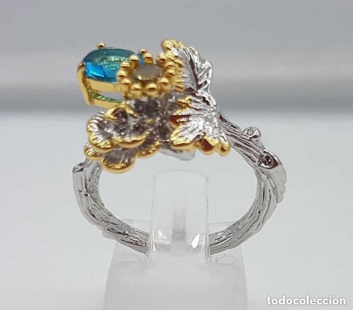 Joyeria: Bello anillo de diseño floral, baño de oro y plata con pequeños topacio azul y citrino. - Foto 4 - 168211708