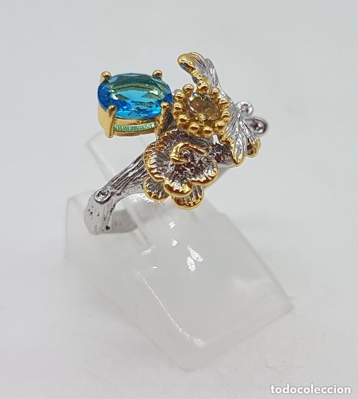 Joyeria: Bello anillo de diseño floral, baño de oro y plata con pequeños topacio azul y citrino. - Foto 6 - 168211708