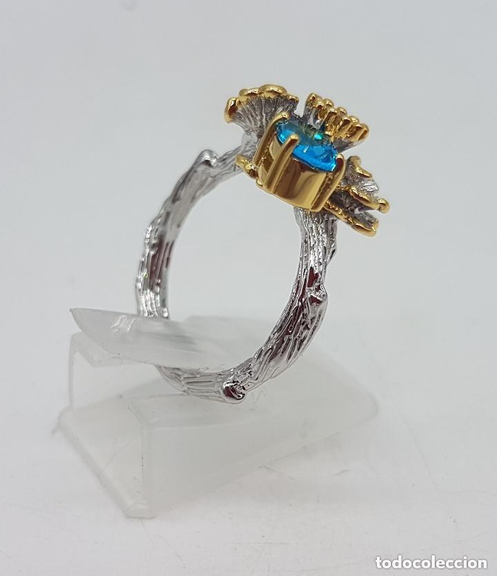 Joyeria: Bello anillo de diseño floral, baño de oro y plata con pequeños topacio azul y citrino. - Foto 7 - 168211708