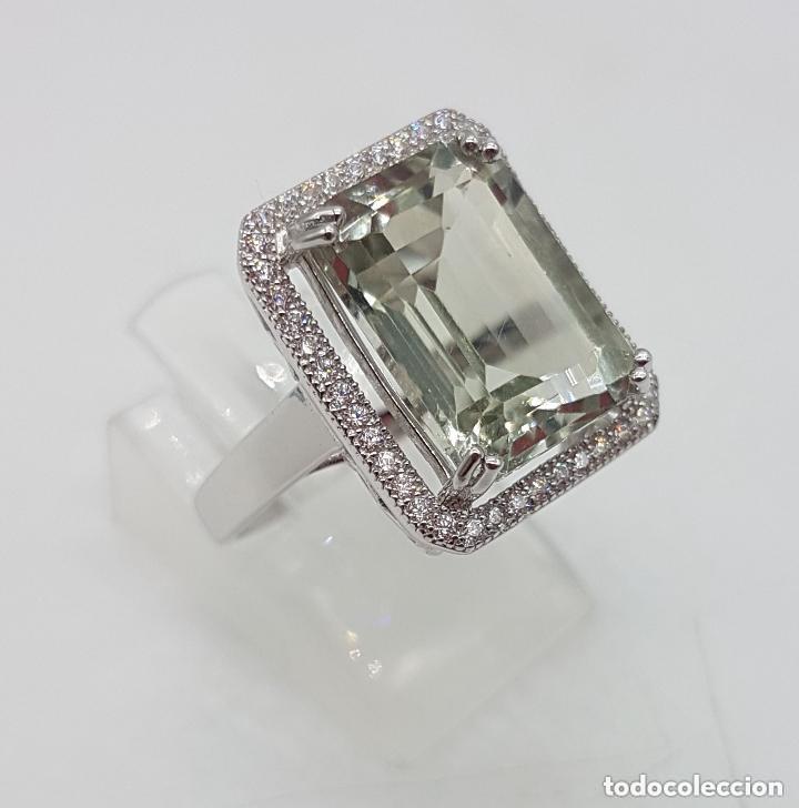 Joyeria: Esquisto anillo con amatista verde talla esmeralda y perímetro en pavé de circonita. 17MM - Foto 3 - 168266804