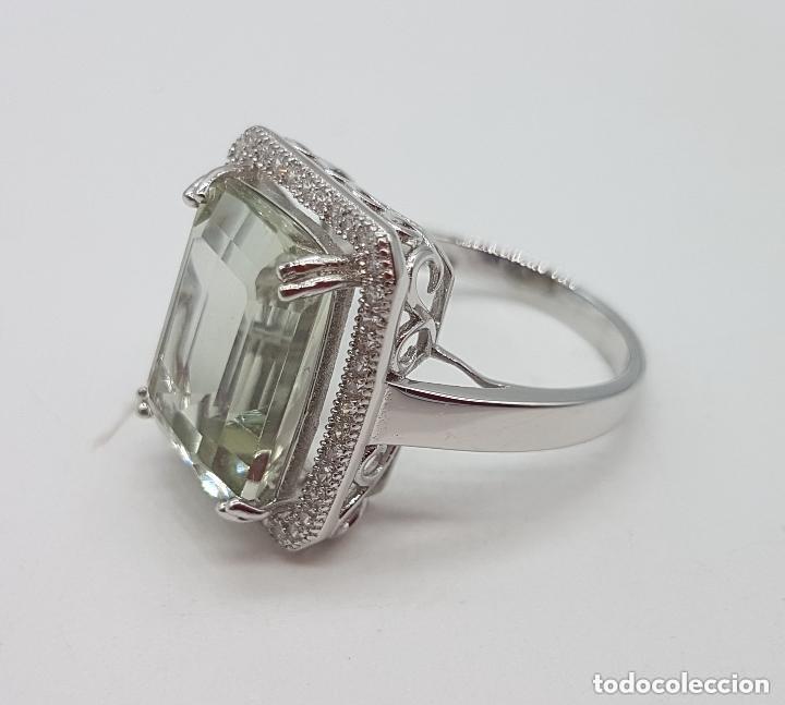 Joyeria: Esquisto anillo con amatista verde talla esmeralda y perímetro en pavé de circonita. 17MM - Foto 4 - 168266804