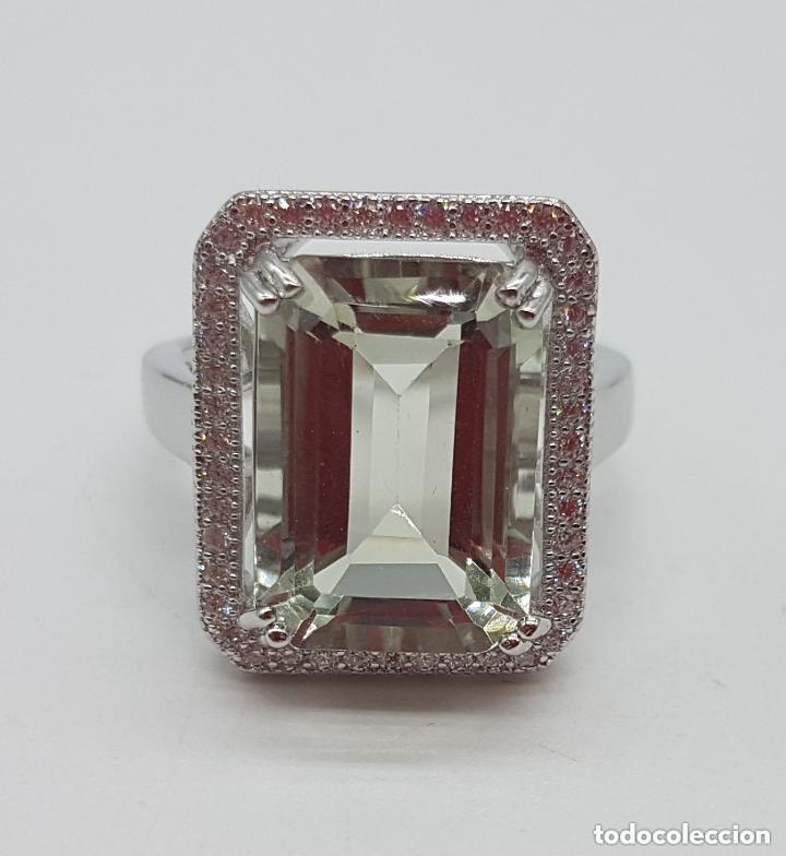 Joyeria: Esquisto anillo con amatista verde talla esmeralda y perímetro en pavé de circonita. 17MM - Foto 5 - 168266804