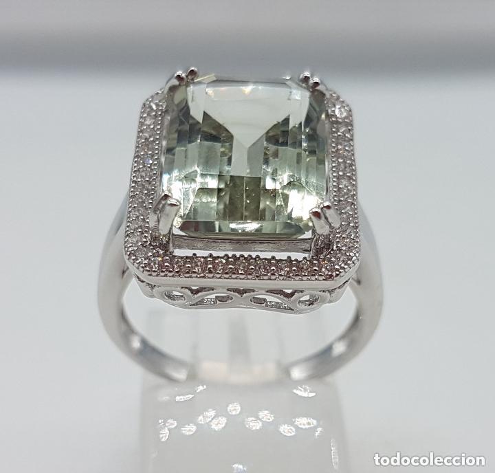 Joyeria: Esquisto anillo con amatista verde talla esmeralda y perímetro en pavé de circonita. 17MM - Foto 7 - 168266804