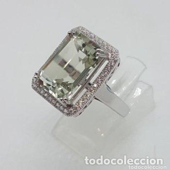 Joyeria: Esquisto anillo con amatista verde talla esmeralda y perímetro en pavé de circonita. 17MM - Foto 9 - 168266804