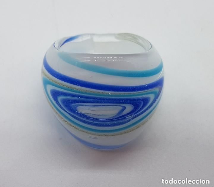 Joyeria: Precioso anillo de cristal de murano con destellos y líneas de tonos azulados. - Foto 4 - 168268980