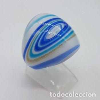Joyeria: Precioso anillo de cristal de murano con destellos y líneas de tonos azulados. - Foto 5 - 168268980