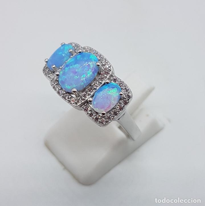 Joyeria: Bella sortija tipo pedida en plata de ley contrastada, opalos talla oval, circonitas talla brillante - Foto 2 - 168302806