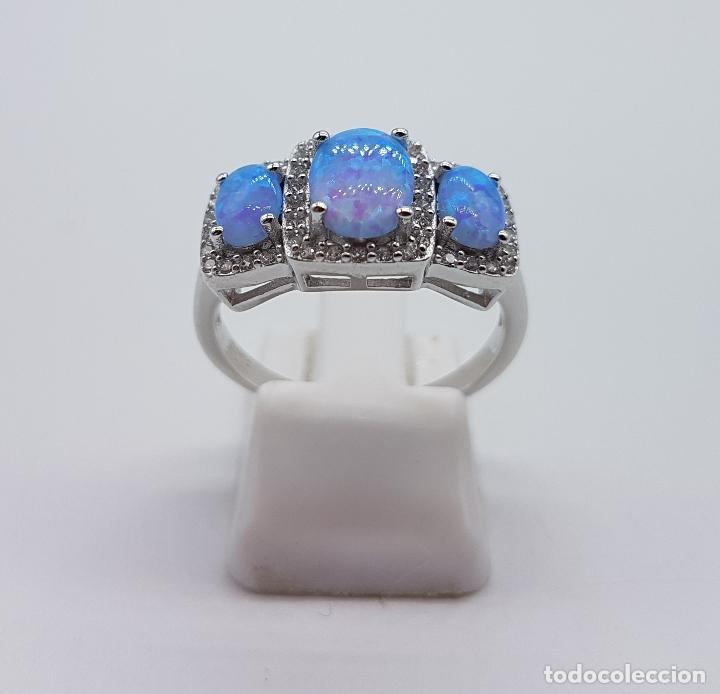 Joyeria: Bella sortija tipo pedida en plata de ley contrastada, opalos talla oval, circonitas talla brillante - Foto 3 - 168302806