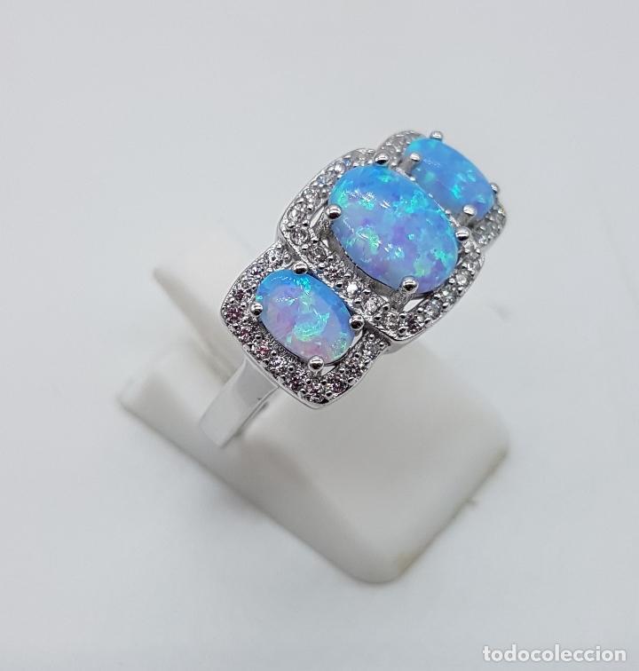 Joyeria: Bella sortija tipo pedida en plata de ley contrastada, opalos talla oval, circonitas talla brillante - Foto 4 - 168302806