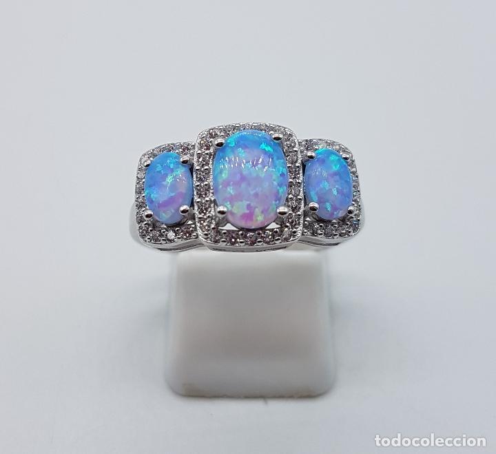 Joyeria: Bella sortija tipo pedida en plata de ley contrastada, opalos talla oval, circonitas talla brillante - Foto 5 - 168302806