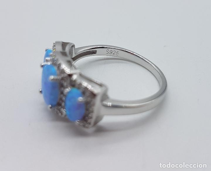 Joyeria: Bella sortija tipo pedida en plata de ley contrastada, opalos talla oval, circonitas talla brillante - Foto 6 - 168302806