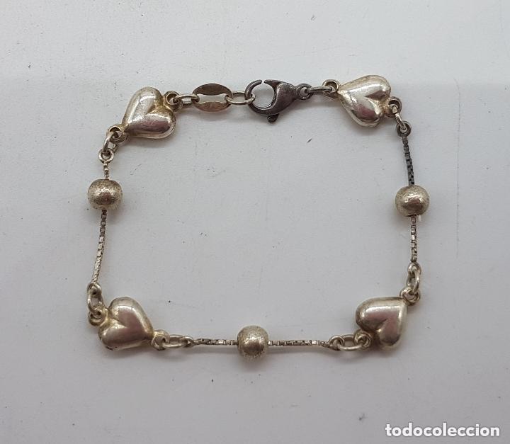 Joyeria: Elegante pulsera antigua de plata de ley 925 con bolitas y corazones. - Foto 2 - 168379648