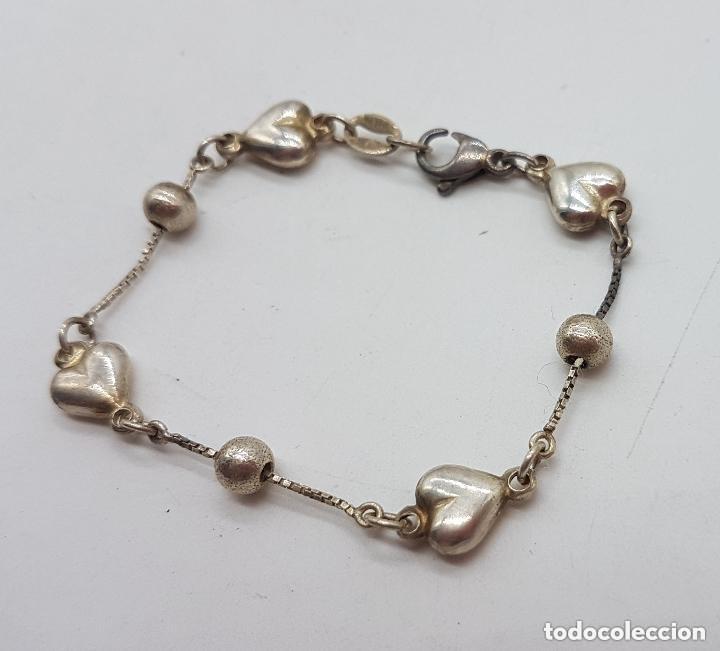 Joyeria: Elegante pulsera antigua de plata de ley 925 con bolitas y corazones. - Foto 3 - 168379648