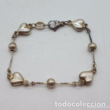 Joyeria: Elegante pulsera antigua de plata de ley 925 con bolitas y corazones. - Foto 5 - 168379648