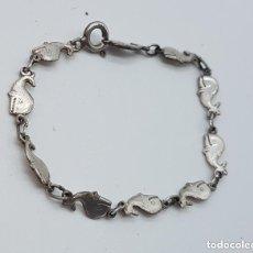 Joyeria - Preciosa y original pulsera antigua de plata de ley 925 con eslabones con forma de ballenas. - 168380800