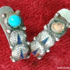 Jewelry - PENDIENTES DE PLATA. PERLA COLOR TURQUESA Y ¿LAPISLAZULI??. (CIRCA 1960). ESPAÑA. - 168599648