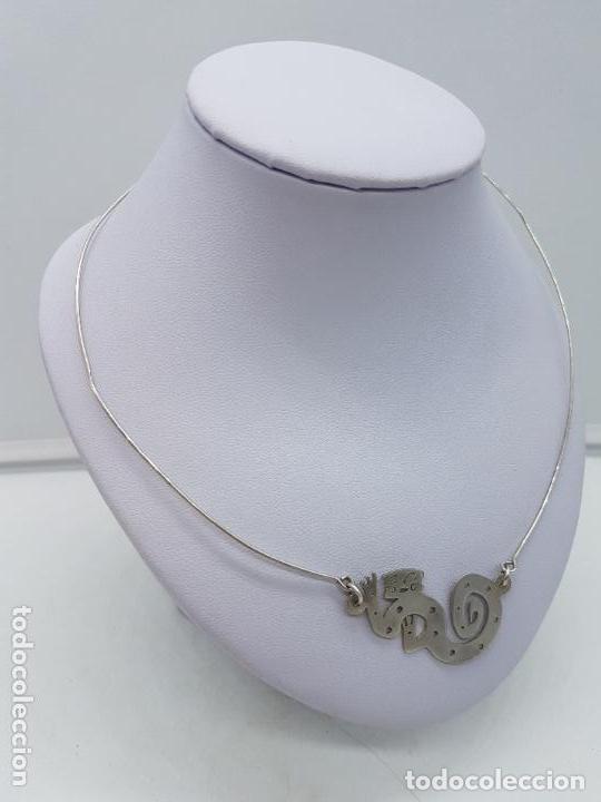 Joyeria: Antigua gargantilla en plata de ley con colgant con forma de mono ardilla saimiri. - Foto 2 - 168662052