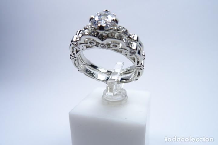 Joyeria: Anillo en plata 925 doble, de dos anillos con zafiros blancos - Foto 3 - 168986492