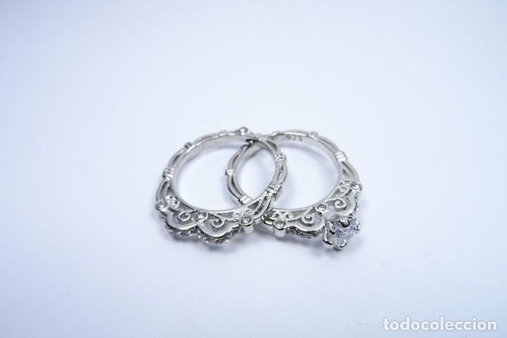 Joyeria: Anillo en plata 925 doble, de dos anillos con zafiros blancos - Foto 4 - 168986492