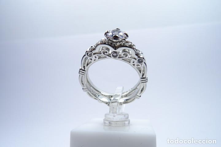 Joyeria: Anillo en plata 925 doble, de dos anillos con zafiros blancos - Foto 5 - 168986492