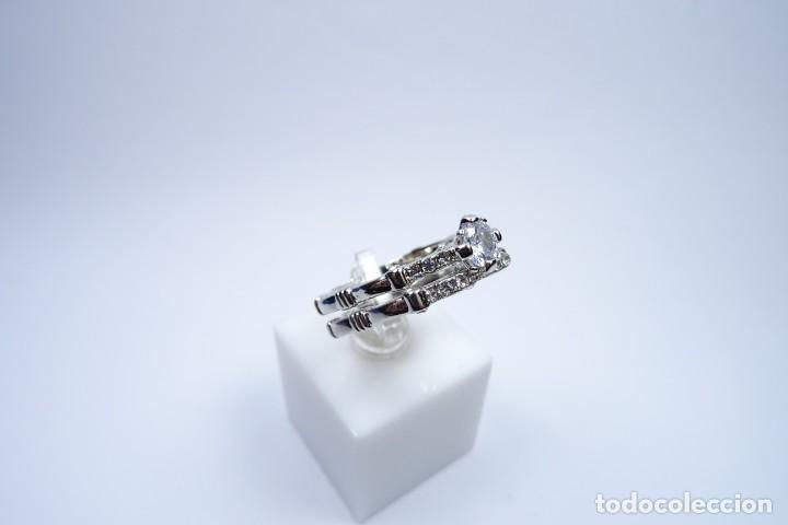 Joyeria: Anillo en plata 925 doble, de dos anillos con zafiros blancos - Foto 6 - 168986492