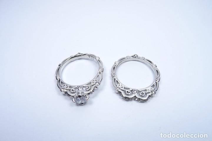 Joyeria: Anillo en plata 925 doble, de dos anillos con zafiros blancos - Foto 7 - 168986492