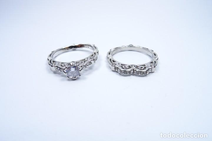 Joyeria: Anillo en plata 925 doble, de dos anillos con zafiros blancos - Foto 8 - 168986492
