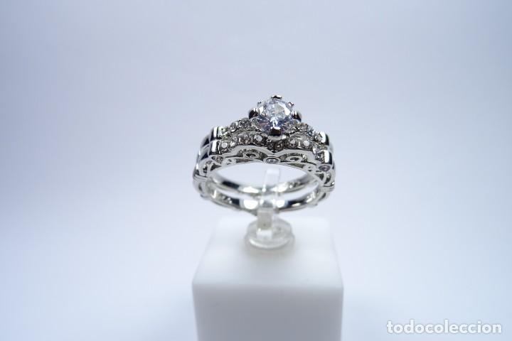 Joyeria: Anillo en plata 925 doble, de dos anillos con zafiros blancos - Foto 9 - 168986492