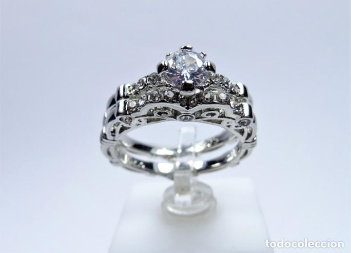 Joyeria: Anillo en plata 925 doble, de dos anillos con zafiros blancos - Foto 10 - 168986492
