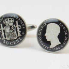 Joyeria: GEMELOS ESMALTADOS CON MONEDA DE PLATA DE ALFONSO XIII. Lote 169082688