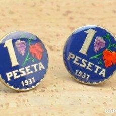 Joyeria: GEMELOS ESMALTADOS 1 PESETA MONEDA II REPÚBLICA. Lote 169083381