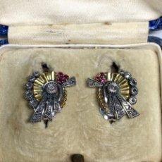 Joyeria - Pendientes Oro 18k Plata Antiguos Diamantes Rubis - 169085033