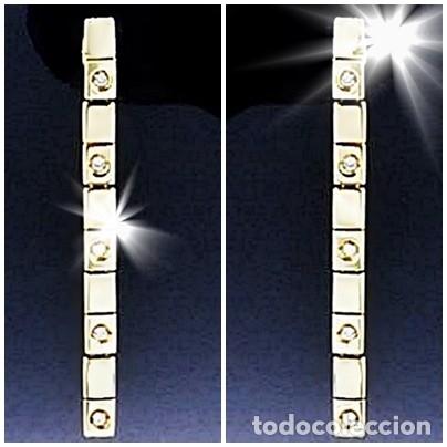 MAGNIFICOS PENDIENTES DE ORO 18K Y 10 BRILLANTES - LARGOS Y ARTÍCULADOS - DIAMOND - 3,8CM (Joyería - Pendientes Antiguos)